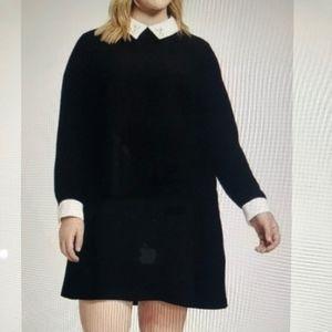 Victoria Beckham Black Dress Bunny Mod Collar